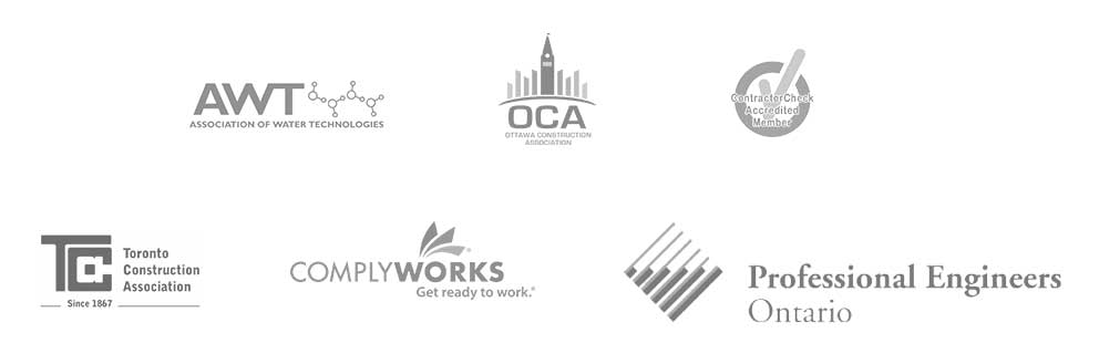 Affiliate logos - AWT Association of Water Tecnologies logo - OCA Ottawa Construction Association logo - Contractor Check Accredited Member logo - TCA Toronto Construction Association logo - Comply Works logo